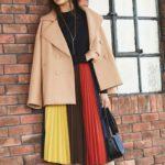 存在感バツグンで冬コーデが華やかに決まるカラーブロックスカートのスタイリング10選♪
