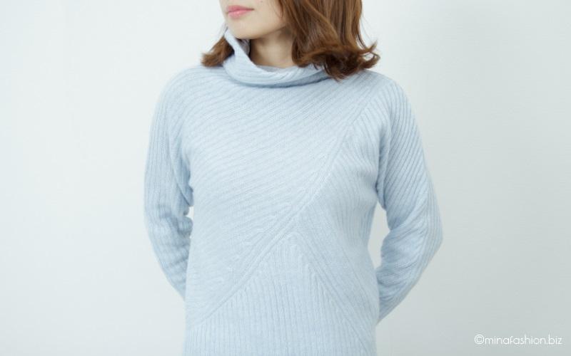 DoCLASSE カシミヤ混・アシメリブ編みセーター