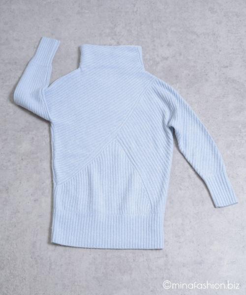 DoCLASS カシミヤ混・アシメリブ編みセーター