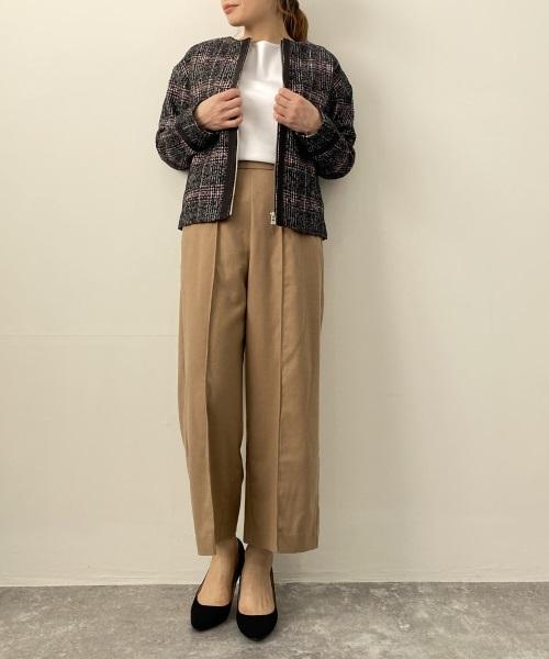 DoCLASSEチェックツイード・ノーカラージャケット ¥14,900
