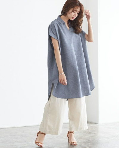 Pierrotリネンライクスキッパーシャツ3,590円