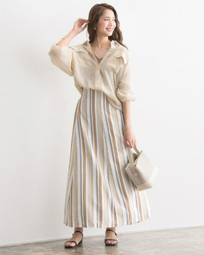Pierrotマルチストライプマキシスカート3,490円