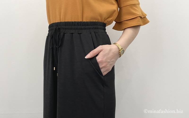 DoCLASSE UVスラブ・ワイドロングパンツ/無地
