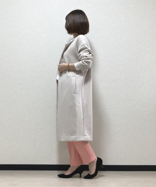 DoCLASSE シャインストレッチ・ノーカラーコート